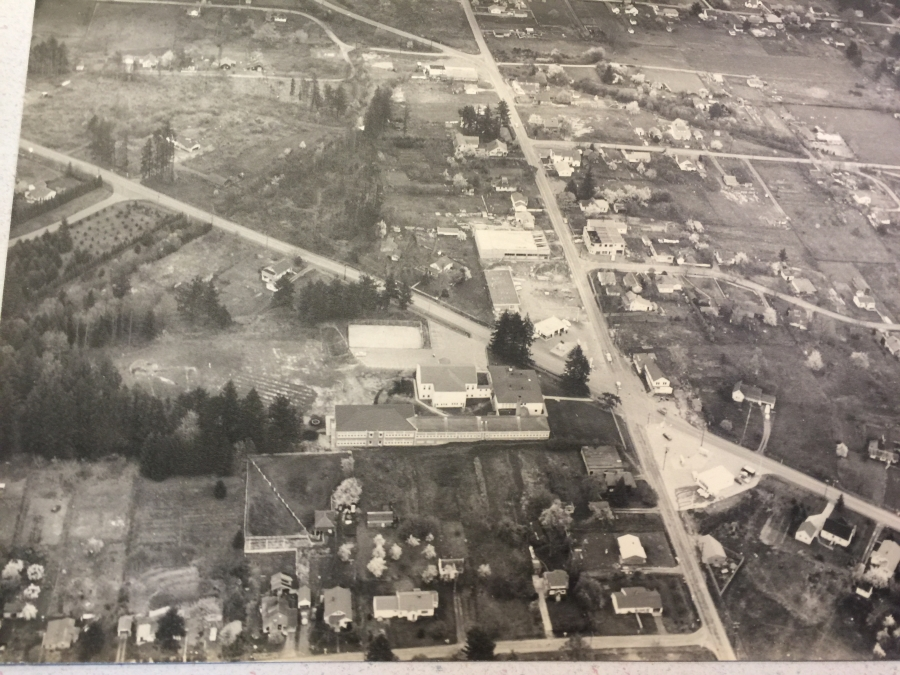 1956 - Aerial photo of Lamb's Thriftway - During construction - Unknown photographer
