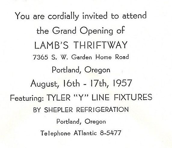 1957 Lamb's Thriftway grand opening announcement