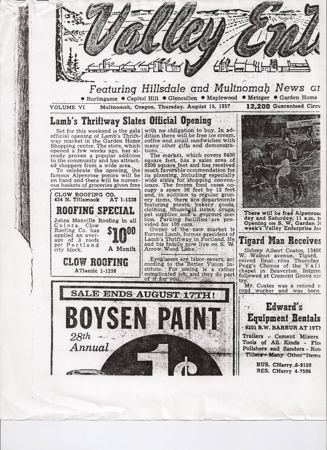 1957 Lamb's Thriftway grand opening article