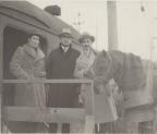 Aaron Frank with Aloma boarding train