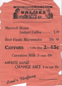 1958 Lamb's Thriftway door to door flyer. Mayonnaise 59 cents per quart, Minute Maid OJ 6 ounce for 15 cents.