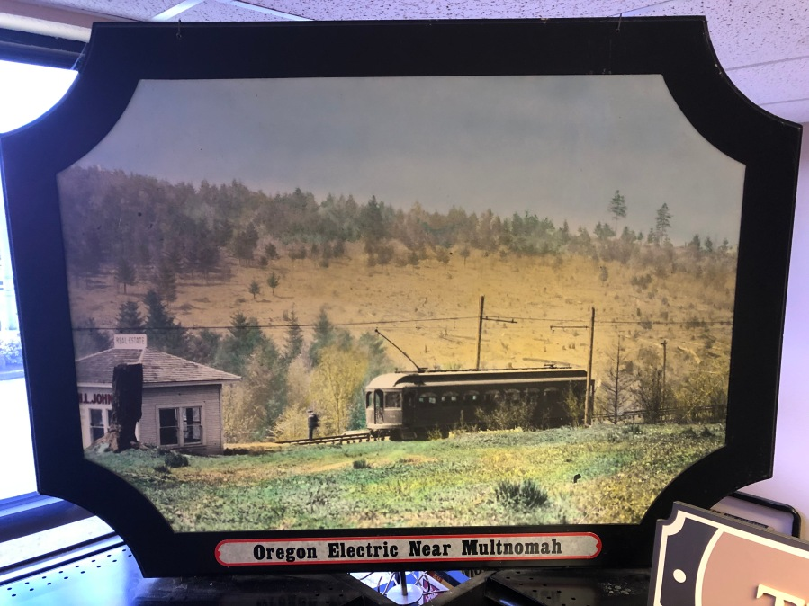 Lambs Thriftway colorized photos 2020 - Oregon Electric, probably midway from Multnomah to Garden Home, hill to the south