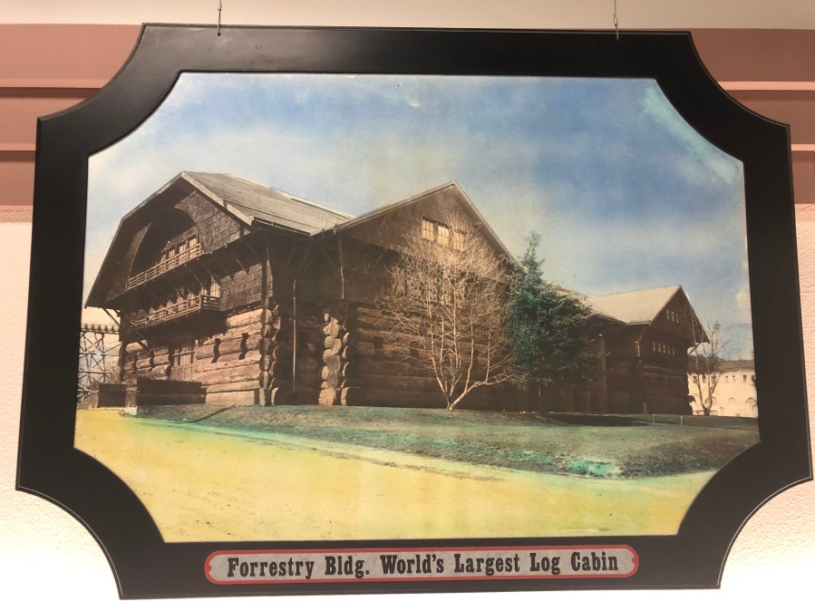 Lambs Thriftway colorized photos 2020 - World's largest log cabin, 1905, Lewis and Clark Centennial Exposition