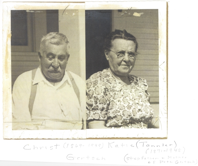 Christ (1869-1949) and Katie Tannler (1871-1948) Gertsch. Stepfather and mother of Pete Gertsch and paternal grandparents of Shirley Gertsch Bartels