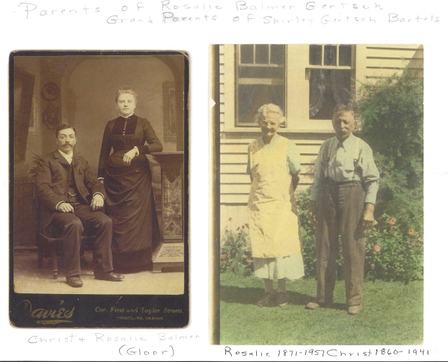 Christ and Rosalie Balmer. Parents of Rosalie Gertsch and maternal grandparents of Shirley Gertsch Bartels