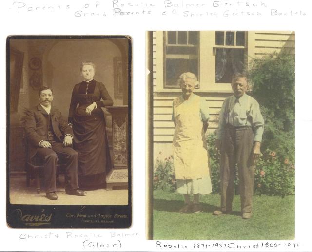 Christ and Rosalie Balmer. Parents of Rosalie Gertsch and maternal grandparents of Shirley Gertsch Bartels