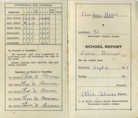 1938 Zora Becvar report card