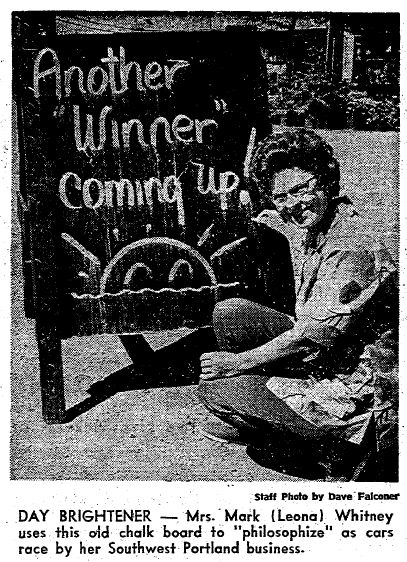 Oregonian April 28, 1972 article about Leona Whitney