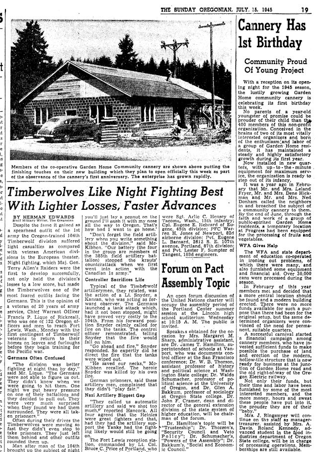 Oregonian July 13, 1945 page 19 article about the Garden Home Co-Op Cannery