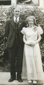 Vlasta Becvar at 1939 graduation with Garden Home School prinicipal Edward T. Taggart, May 18, 1939 crop