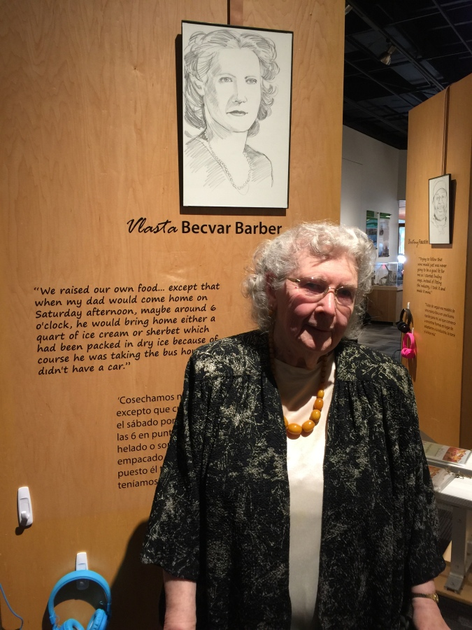 Vlasta Becvar at the Washington County Museum exhibit featuring her life story, 2018