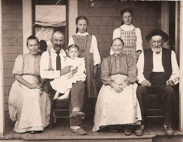 This is the Von Bergen family from the early 1900s. Magadelana and Andreas holding Frieda, Ida and Elsie in the back and Andreas' parents on the right. Their dairy was off Oleson Road at about Miles Court. Richard Roth and Madaline Benner, children of Ida, recall visits to the Von Bergen Dairy farm.