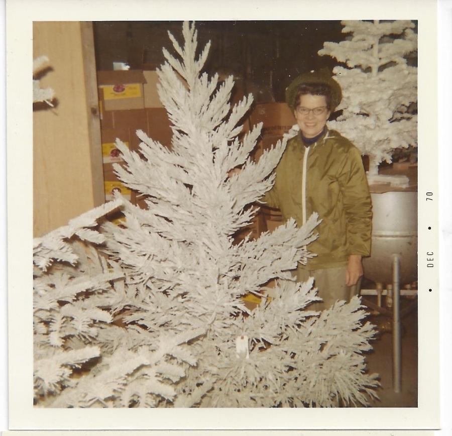 Whitney's Cannery - Flocked Christmas trees - Leona Whitney 1970