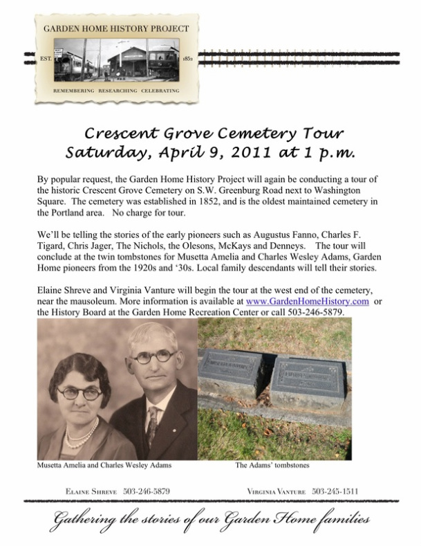 Invitation to the 2011 Crescent Cemetery tour