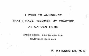 1922 Reinert Hetlesater, MD, practice announcement