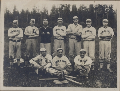Garden Home baseball team in the Sunset Basebase League. Uncle Duke Scherner (right front), Uncle Carl Rehberg (left rear) and Albert Erickson (center).
