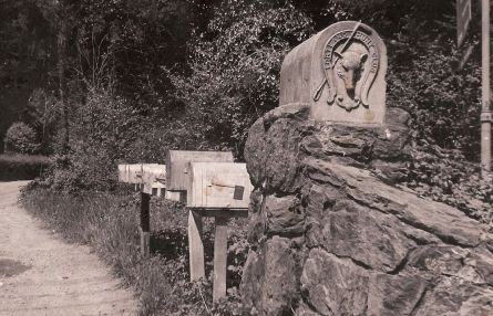 Historic 1910 pillars at the entrance to the Portland Hunt Club, with Hunt Club fox logo, circa 1972