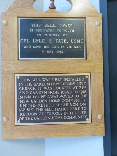 Bell plaques at Garden Home Market Place