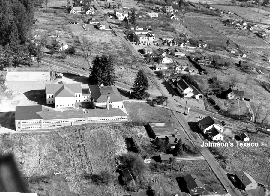 1954 Aerial photo of Garden Home School and Gust Johnson's Texaco station