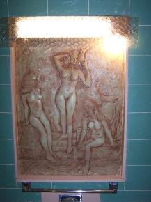 Porshman house - pink relief sculpture