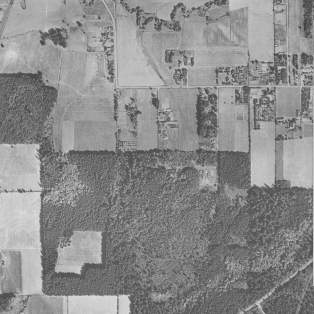 1936 aerial photo of the west end of SW Garden Home Road as it turns north into SW 92nd Ave.