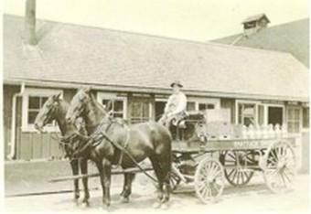 Peter Gertsch driving a dairy wagon