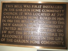 """New plaque for the bell commemorating Lyle """"Toad"""" Tate, killed in Vietnam."""