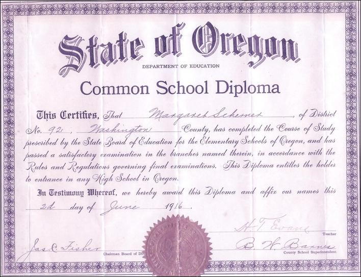 Margaret Scherner's Garden Home School eighth grade graduation diploma