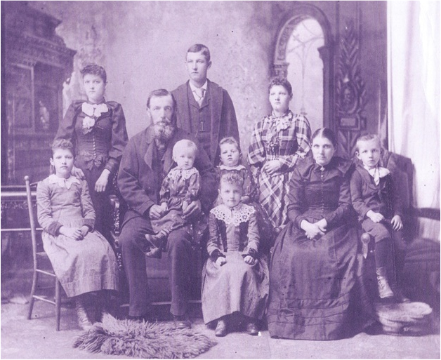Detlef and Maria Scherner family, circa late 1890s, prior to Margaret's birth.