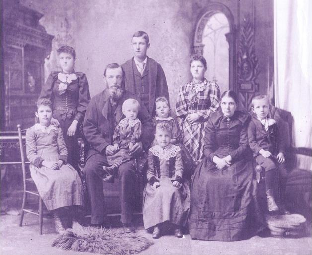Detlef and Maria Scherner family, circa late 1890s, prior to Margaret's birth.