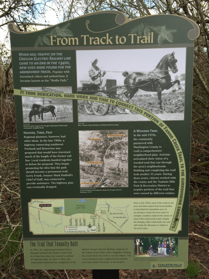 Fanno Creek trail sign - From Track to Trail