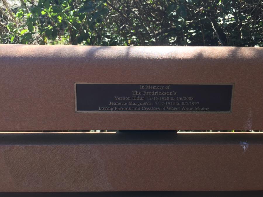 Fredrickson memorial bench inscription - at SW 78th and the Fanno Creek Trail, near the Fredrickson Wormwood Manor