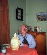 Gertrude Jones at table