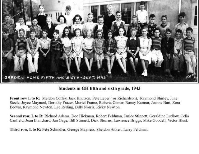 Garden Home School, Fifth and Sixth Grades, 1943