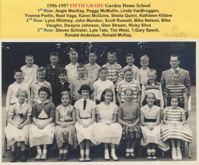 Garden Home School 1956-1957 5th grade class