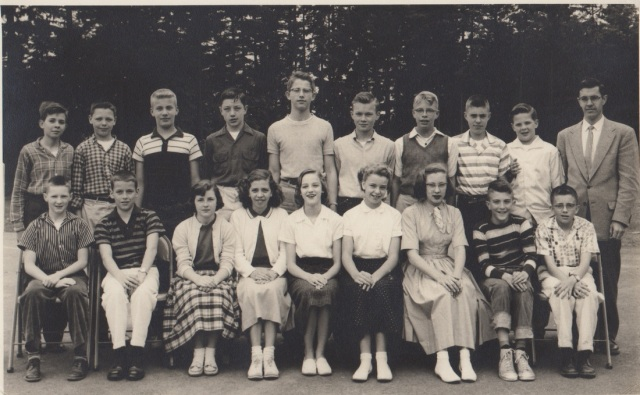 7th grade class, Garden Home School. Dick Vonada, 2nd from right, first row, 1957