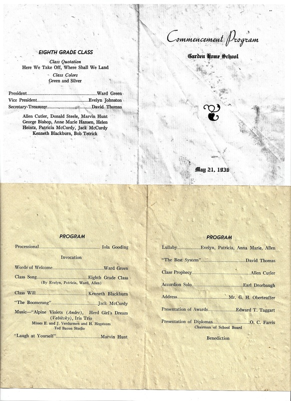 1936 Eighth Grade Commencement Announcement