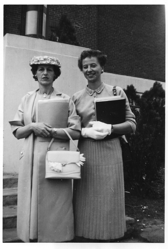Mrs. Byron Meisner, Mrs. Ward Nelson, 1957, PTA event at Pendleton