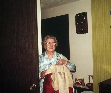 Helen Somerton and Santa costume