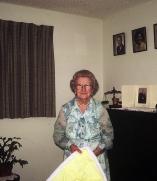 Helen Somerton showing off her quilt
