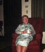 Helen Somerton sipping tea