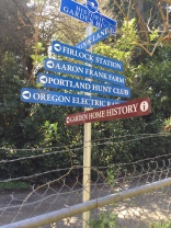Historic directional markers at SW 78th and the Fanno Creek Trail, at the Fredrickson Wormwood Manor