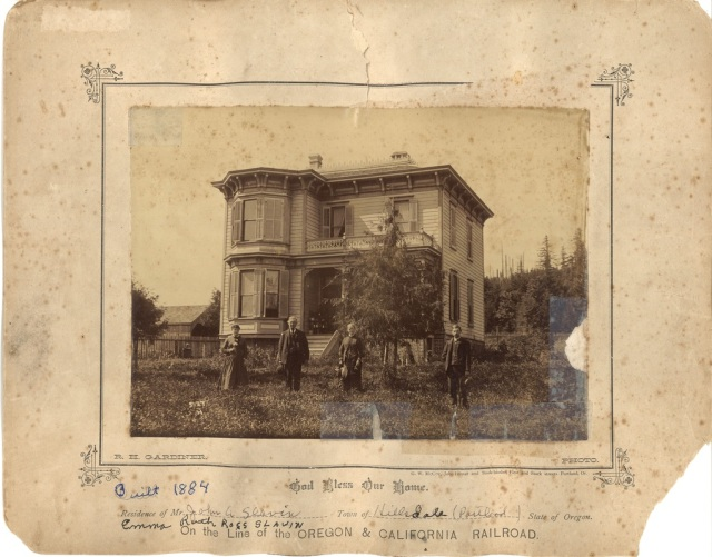 1884 residence of John and Emma Ruth Ross Slavin, Hillsdale. Courtesy Mary Helen Himes Koeber. See post.