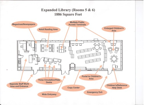 Garden Home Community Library initial floorplan