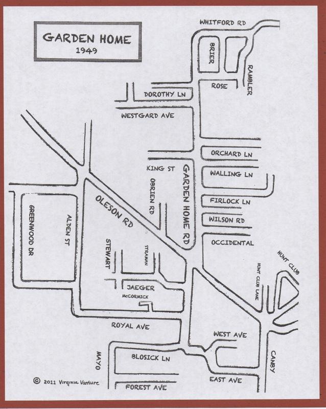 Garden Home street names, circa 1949