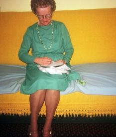 Marie Mistler doing needlepoint