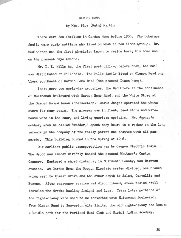 Ruth Martin history of Garden Home, page 1
