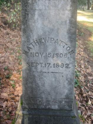 Mathew Patton tombstone. Courtesy Elaine Shreve.