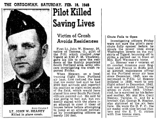 1946 Fighter plane crash in Tigard, news report in The Oregonian