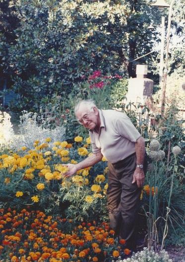 Erich Porshman in his garden